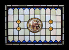 Rare Painted Bird Adorned With Rondels English Antique Stained Glass Window