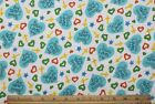 SNUGGLE FLANNEL JESUS LOVES MEHEARTS CROSS on WHITE 100 Cotton Fabric BTY