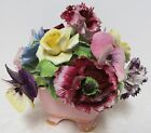 Real Vintage Staffordshire England Roses Flowers Basket Ceramic Hand Painted