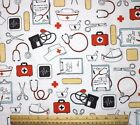 SNUGGLE FLANNEL DOCTOR  NURSE INSTRUMENTS on WHITE 100 Cotton Fabric BTY