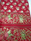 APRIL CORNELL RED TABLECLOTH MAPLE LEAF & BERRY FLORAL BORDER TABLECLOTH 67x104