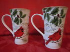 222 FIFTH NOELLA CHRISTMAS JOYEUX NOEL MUSIC CARDINAL HOLLY LATTE MUGS SET OF 4