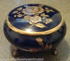 round TRINKET Box ROYAL Porzellan BAVARIA Cobalt Blue Flower Design GERMAN