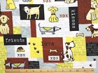 DOGS in PATCHWORK BROWN YELLOW  SNUGGLE FLANNEL 100 Cotton Fabric 1 Yd 12