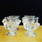 Set of 4 Coquetier Egg Cups Clear Glass Chick Figure Cristal D'Arques Durand