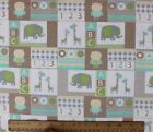 SNUGGLE FLANNEL  BABY ANIMAL BLOCKS PATCHWORK on WHITE 100 Cotton Fabric BTY