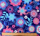 SNUGGLE FLANNEL WHIMSICAL FLORAL FLOWERS ON BLUE  100 Cotton Fabric NEW BTY