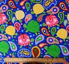 SNUGGLE FLANNEL MULTI COLOR PAISLEY  TURTLES on BLUE 100 Cotton NEW BTY
