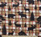 SNUGGLE FLANNEL ELKMOOSEBEAR on BROWN RED PLAID 100 Cotton FABRIC 1 yd 32