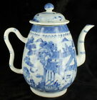 Antique Chinese Export Canton Teapot Coffee Pot Blue  White Porcelain