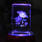 3D Laser Etched Crystal Romantic Rose Paperweight + LED Stand Lover Gift Box