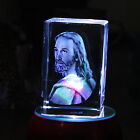 3D Laser Etched Crystal Jesus Xmas Birthday Gift Paperweight Ornament LED stand