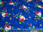 3 Yards Quilt Cotton Fabric - Maywood Studio Roses Toss on Patterned Blue