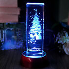 3D Laser Etched Crystal Pine Xmas Tree Paperweight Ornament with LED Stand