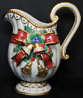 Beautiful Fitz & Floyd Classics Christmas Deer Pitcher Bow & Bells Discontinued