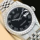 ROLEX MENS OYSTER PERPETUAL DATEJUST BLACK DIAL 18K WHITE GOLD/SS DIAMOND WATCH
