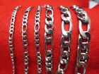 16 84 3 4 5 7 9 10 12MM MEN WOMEN SILVER STAINLESS STEEL FIGARO ROPE NECKLACE
