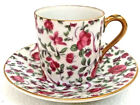 Vtg  Inarco China Gold Trim Demitasse Tea Espresso Cup with Saucer- Red Roses