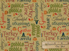 Give Thanks Turkey Words Gobble Fall Leaves Autumn Fabric by the 1 2 Yard 6528