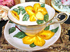TUSCAN   TEA CUP AND SAUCER HAWAIIN FLOWERS YELLOW HIBISCUS TEACUP PAINTED
