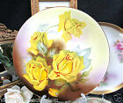 ROYAL ART ITALY  HAND PAINTED SIGNED YELLOW ROSES PLATE