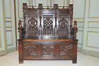 Antique  French Gothic Bench Decorative Foyer Seating Impressive Carving
