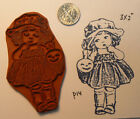 Girl with pumpkin vintage Rubber Stamp Halloween Cling Mounted