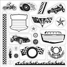 FISKARS Clear Stamps 8X8 READY SET GO BUILT FOR SPEED RACE CAR CYCLE Lil Davis