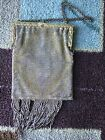 VINTAGE 1920'S FLAPPER STYLE GOLD TONE ENAMEL OLD MESH PURSE  MADE IN FRANCE 9