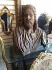 Jesus Antique  Wood Vintage Artist Signed Hand Carved Religious Statue Bust