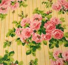 Glorious Garden BTY April Cornell FreeSpirit Pink Roses on Yellow Stripe