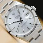 VINTAGE MENS ROLEX OYSTER PERPETUAL DATE 1501  SILVER DIAL STAINLESS STEEL WATCH