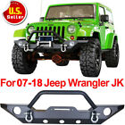 JK Front Bumper W Winch Plate  OE Fog Light Hole  D rings 07 17 Jeep Wrangler