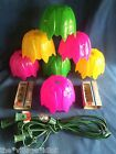 Vintage Foremost Petal Lights Patio Party Tiki 7 Set Tulip Flowers Camper RV 70s