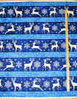 Stonehenge Reindeer Prance Blue Stripe Christmas Northcott Fabric by the 1 2 Yrd