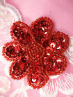 JB175 Floral Red Beaded Sequin Applique Flower Patch for Sewing and Crafts 2