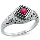 GENUINE  RUBY .925 STERLING SILVER ANTIQUE DECO STYLE FILIGREE RING SIZE 7, #186