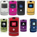 Motorola RAZR V3 Unlocked flip Mobile Phone New Condition Silver Grey Gold Black