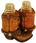 Salt  Pepper Shakers Cowboy boot Glass Western primitivehorse 4109