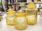 3  L E Smith Imperial Honey Amber Glass Canister JarS Atterbury Scroll VTG