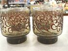 5 Lot Libbey PRADO 8 oz Old Fashioned/Rocks Glasses Brown Glitter Scrolls 3.25