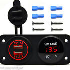 Car Boat Switch Panel Dual USB Charger Adapter + LED Digital Display Voltmeter