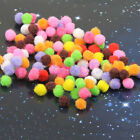 200PCS Pom Poms Soft Fluffy Balls Felt Card Embellishments Kids Pompoms