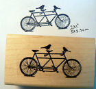 Tandem Bicycle with birds rubber stamp Wood mounted P46