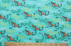 SNUGGLE FLANNELFANCY SKETCHED DACHSHUND DOGS on GREEN Cotton NEW 1 yard