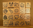 STAMPETTES Wood Mounted Rubber Stamps Animals  Objects