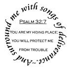 Surround me with songs of deliverance unmounted rubber stamp bible verse 16
