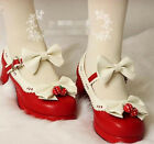 Cute Women Lolita Bowknot Mary Janes Chunky Ankle Strappy Ankle Strap Girl Shoes