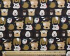 SNUGGLE FLANNEL  BROWN  WHITE DOGS FACES on BLACK Cotton FabricNEW BTY