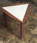 Mid Century Modern Side Table Walnut Triangle with Formica Top